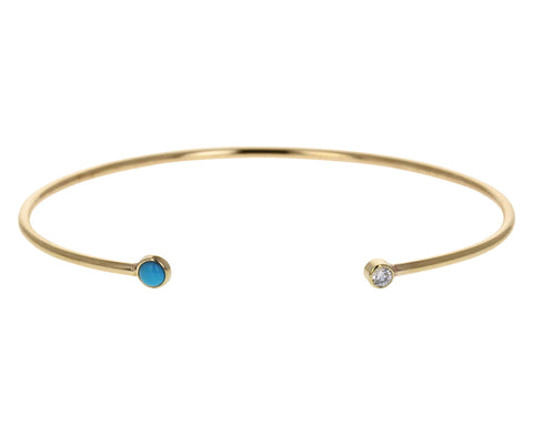 Turquoise and Diamond Open Cuff Bracelet