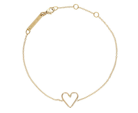 Hammered Heart Bracelet zoom 1_zoe_chicco_gold_open_heart_bracelet