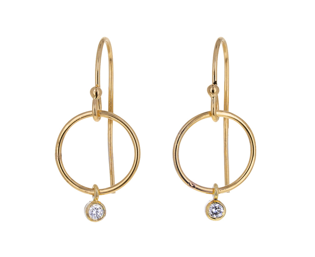 Diamond Circle Drop Earrings