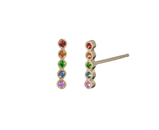 Tiny Rainbow Sapphire Bezel Bar Earrings - TWISTonline