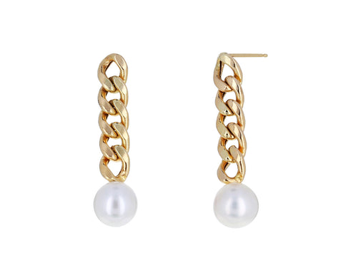 Gold Chain and Pearl Earrings