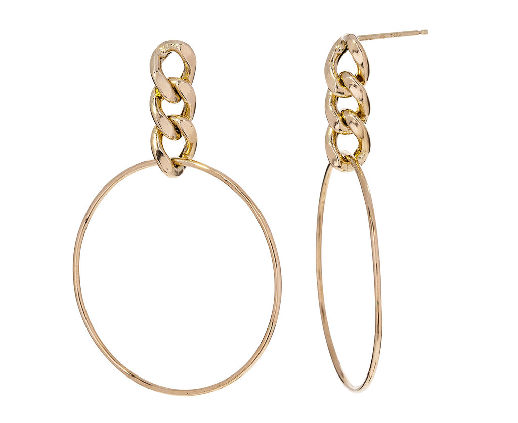 Curb Chain Drop Hoop Earrings
