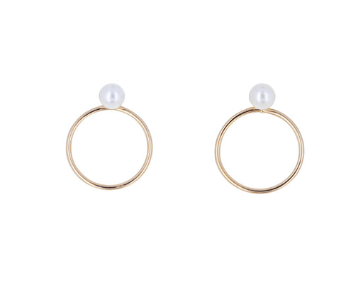 Gold and Pearl Circle Stud Earrings