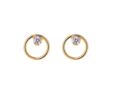 Small Diamond Circle Stud Earrings
