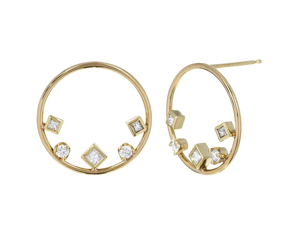 Mixed Diamond Circle Earrings - TWISTonline