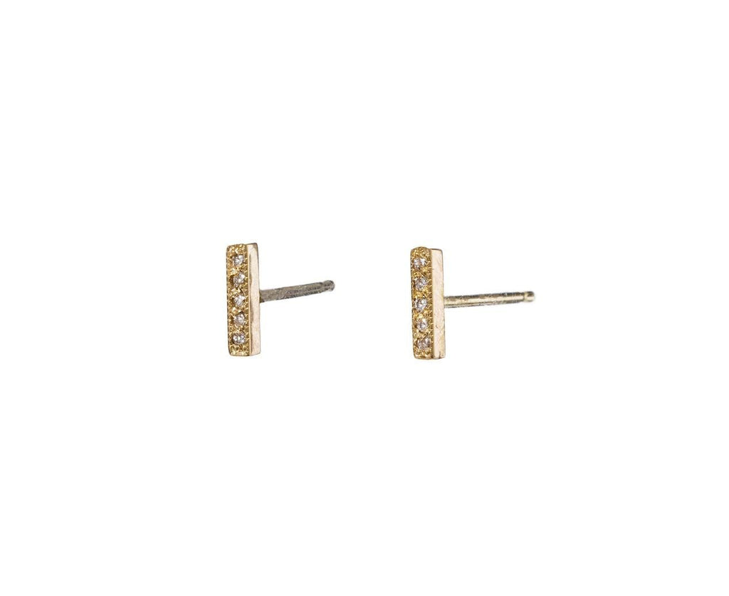 Short Diamond Bar Stud Earrings - TWISTonline