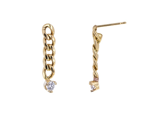 Small Curb Link Diamond Drop Earrings