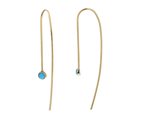 Turquoise Thread Through Dangle Earrings