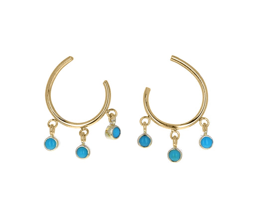 Dangling Turquoise Hoop Earrings