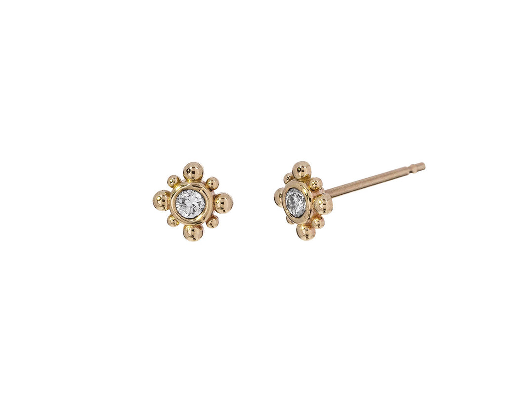 Tiny Bead Starburst Diamond Earrings