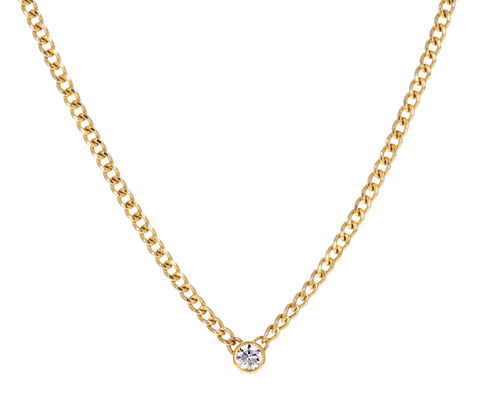 Gold and Diamond Curb Chain Necklace