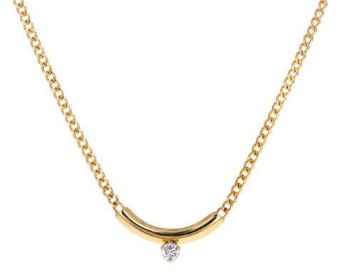 Gold and Diamond Curved Bar Pendant Necklace
