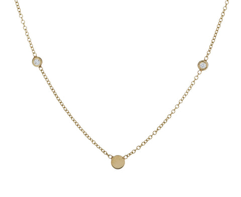 Gold and Diamond Disc Chain Necklace