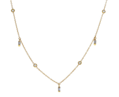 Mixed Cut Diamond Dangling Necklace
