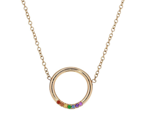 Rainbow Sapphire Open Circle Necklace zoom 1_zoe_chicco_gold_rainbow_sapphire_circle_necklace