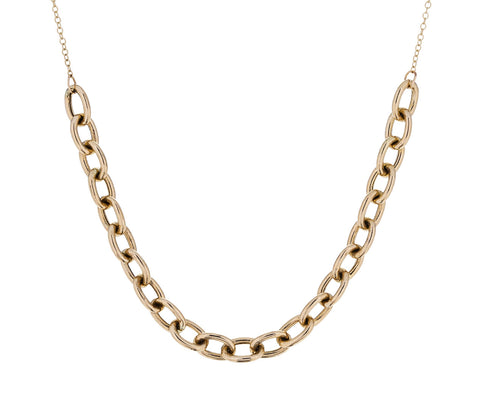 Gold Oval Link Station Necklace - TWISTonline