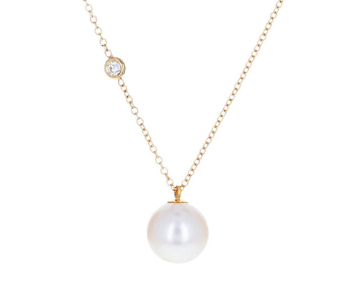 Floating Diamond and Pearl Pendant Necklace
