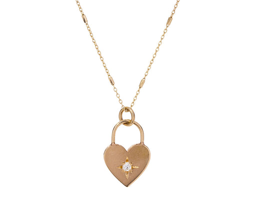 Heart Padlock Diamond Pendant Necklace