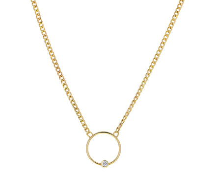 Diamond Open Circle Curb Chain Pendant Necklace