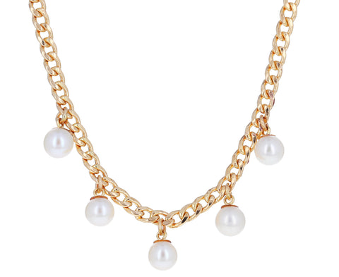 Dangling Pearl Chain Necklace