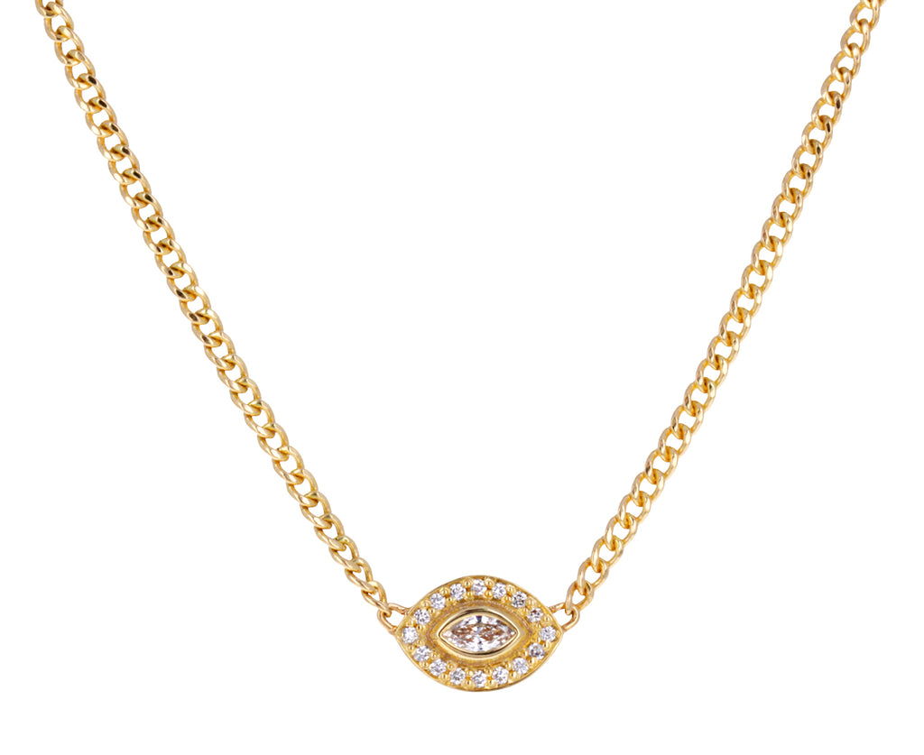 Gold and Diamond Evil Eye Necklace