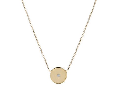 Diamond Disc Pendant Necklace