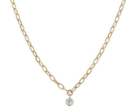 Dangling Diamond Oval Link Necklace