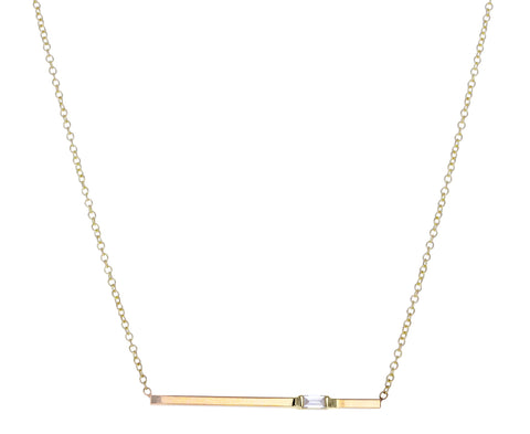Baguette Diamond Bar Pendant Necklace