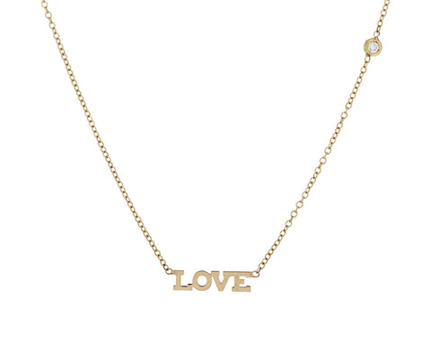 Itty Bitty Gold and Diamond Love Necklace