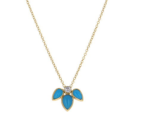 Turquoise and Diamond Starburst Necklace