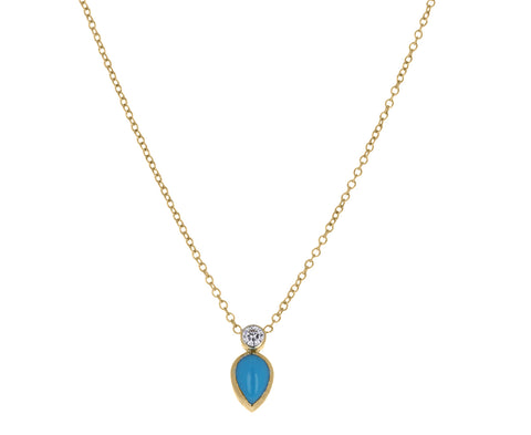 Turquoise and Diamond Teardrop Necklace