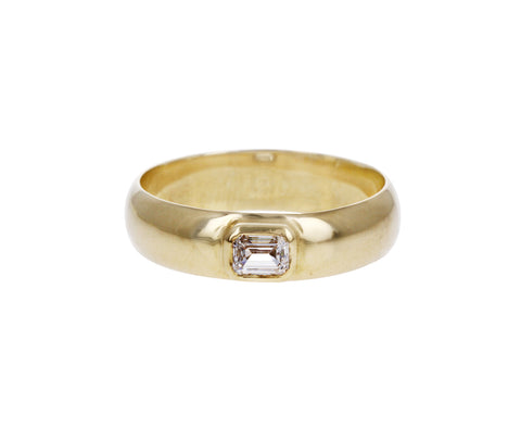 Gold and Diamond Half Round Band