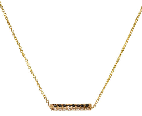 Black and White Diamond Bar Necklace zoom 1