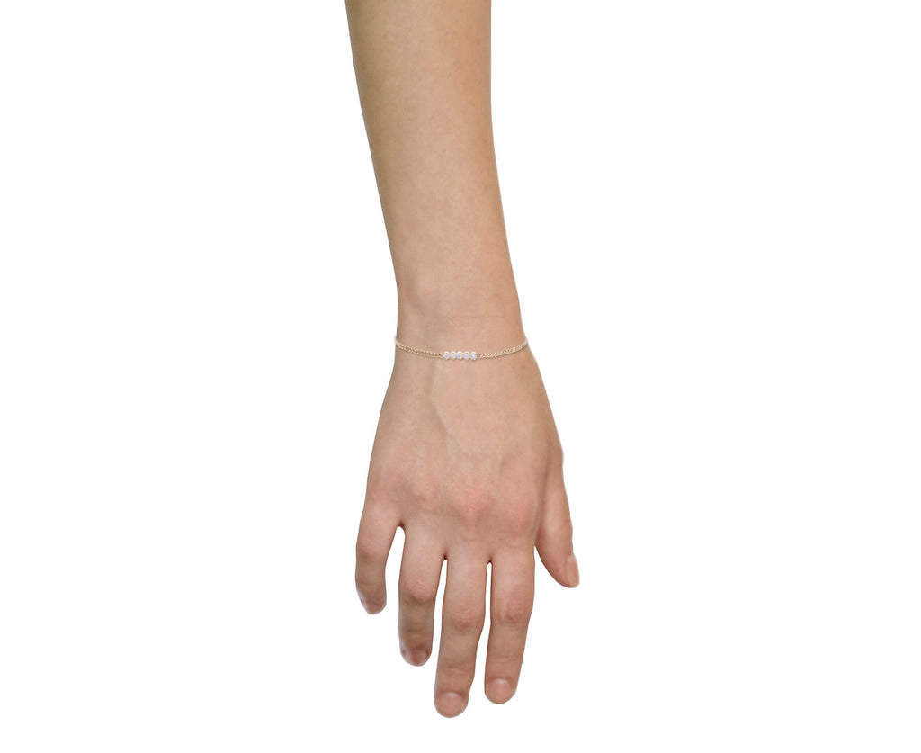 Bezel Set Diamond Curb Chain Bracelet