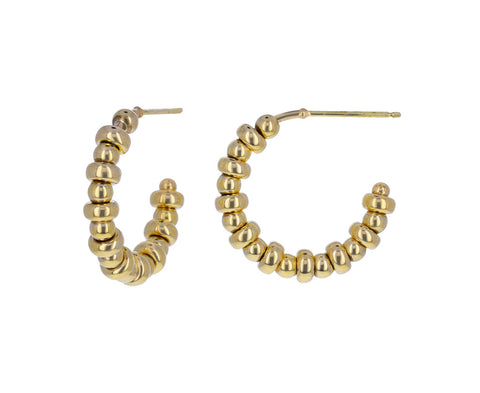 Gold Rondelle Huggie Hoop Earrings