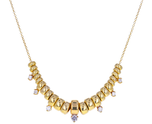 Gold and Diamond Rondelle Pendant Necklace