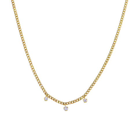 Diamond Dangle Curb Chain Necklace
