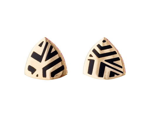 Memphis Lacquer Ruby Triangle Earrings - TWISTonline