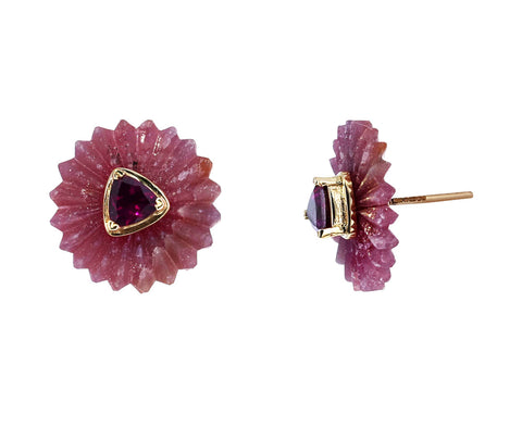 Purple Agate and Rhodolite Garnet Summer Snow Earrings - TWISTonline