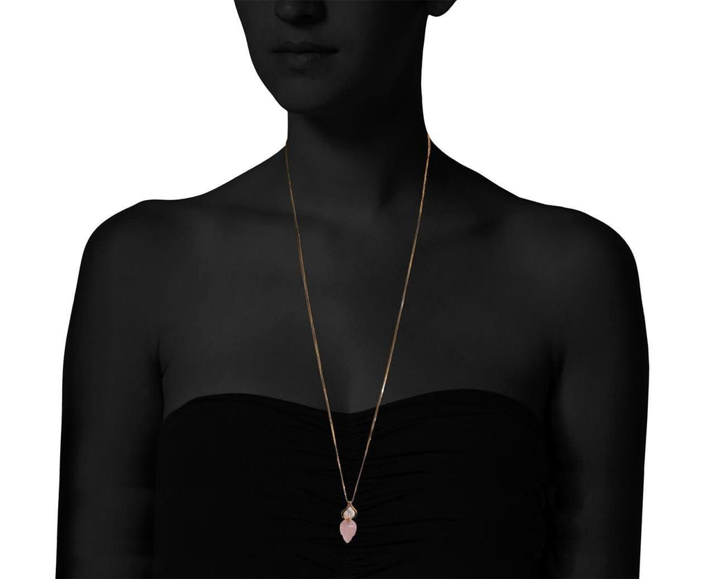 Rose Quartz Stone Temple Lotus Pendant Necklace - TWISTonline