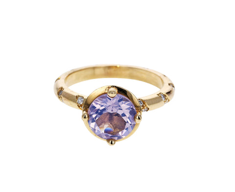 Lavender Moonstone and Diamond Memphis Bubble Ring