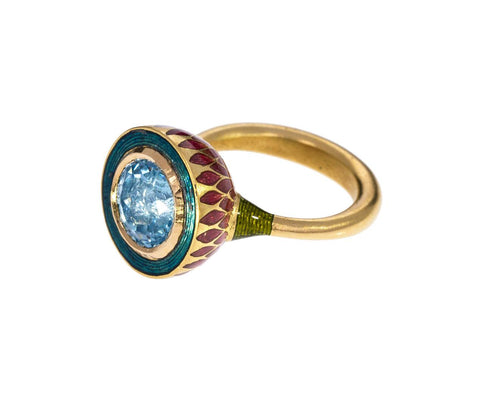 Jodhpur Miniature Aquamarine Petal Ring - TWISTonline