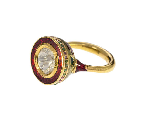 Diamond Sapphire Emerald Enamel Ring - TWISTonline