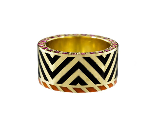 Memphis Chevron Lacquer Ring with Rubies - TWISTonline