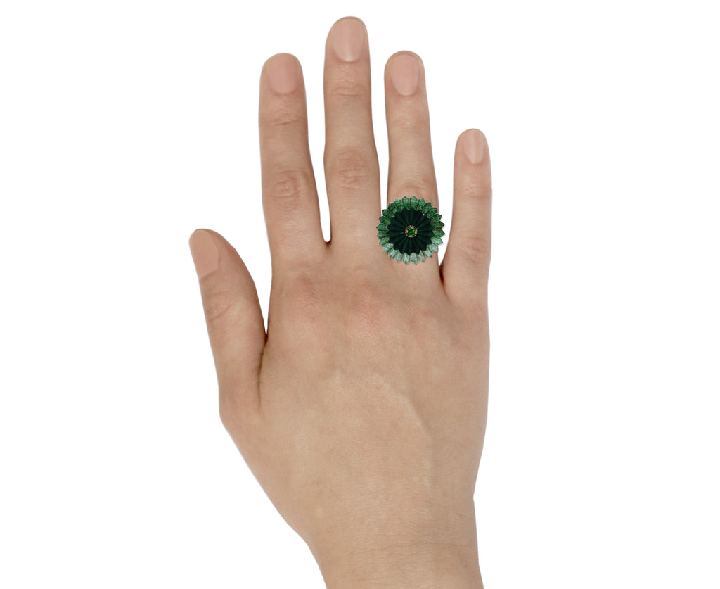 Green Agate and Malachite Summer Snow Ring