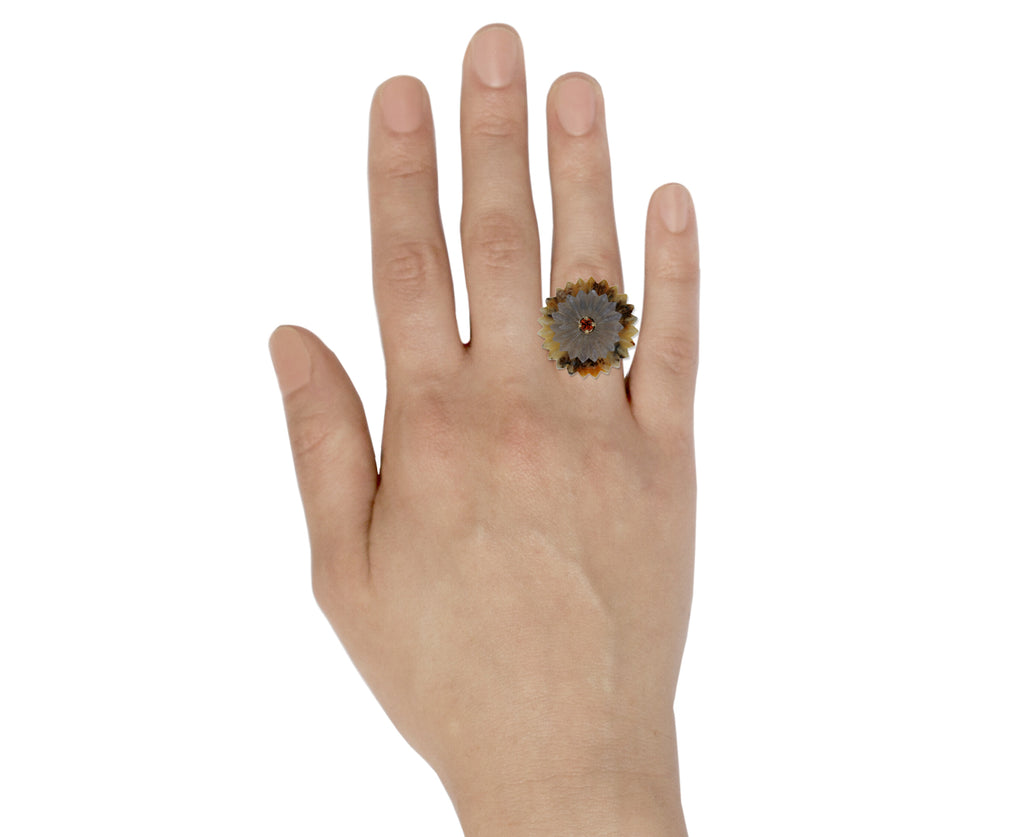 Dendritic Opal and Moonstone Summer Snow Ring - TWISTonline