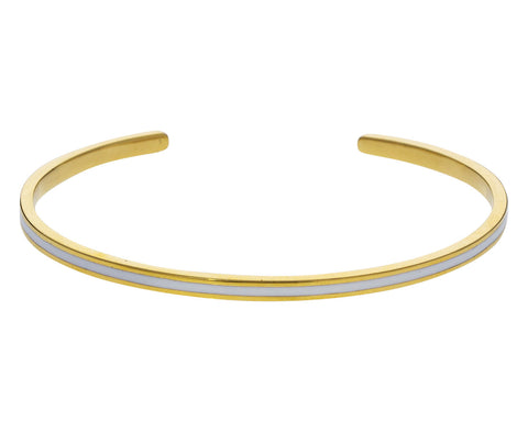 White Enamel and Gold Cuff Bracelet