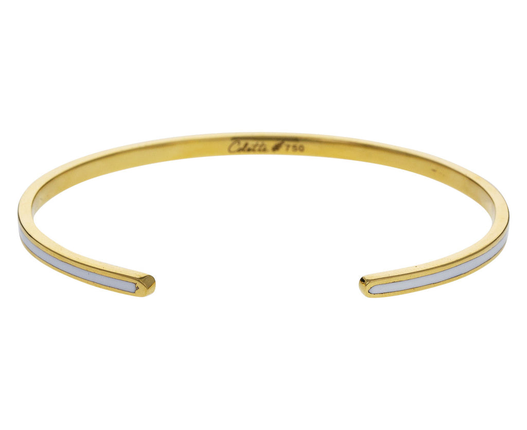 White Enamel and Gold Cuff Bracelet - TWISTonline