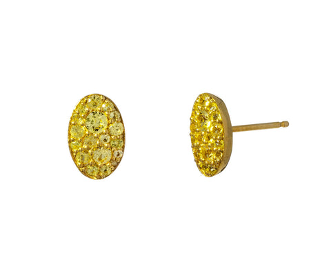 Oval Yellow Sapphire Stud Earrings