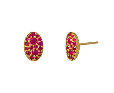 Oval Ruby Stud Earrings